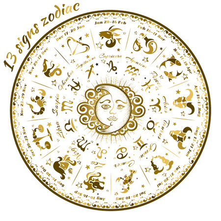 13 signs of the zodiac astrological circle, vector illustration 矢量图像