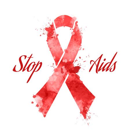 grunge banner: Day AIDS red ribbon grunge banner, vector illustration Illustration