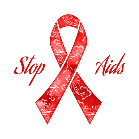 aids virus: Day AIDS red ribbon grunge banner, vector illustration Illustration