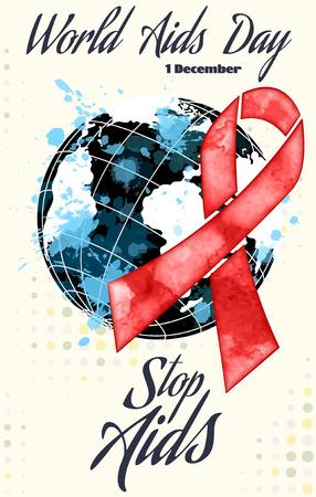 salud sexual: Día del SIDA cinta roja del grunge bandera, ilustración vectorial