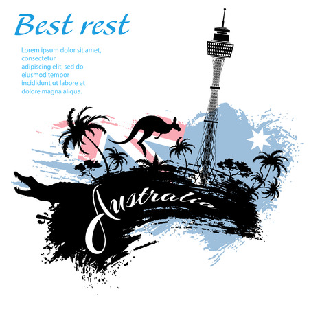 Travel Australia design in grunge style for Your business easy editable elements, vector illustration Illustration