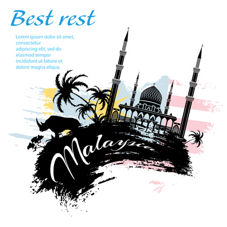Travel Malaysia design in grunge style for Your business easy editable elements, vector illustration Ilustração