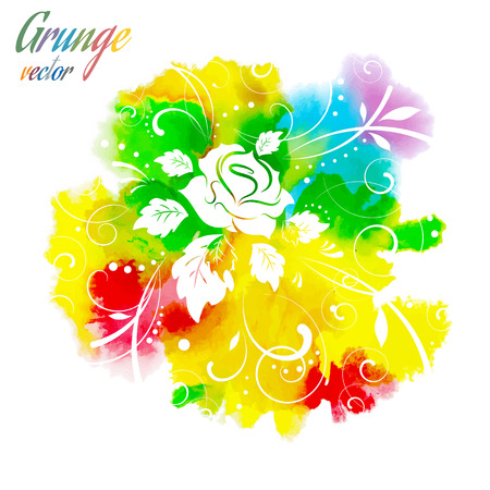 Watercolor floral background, vector illustration