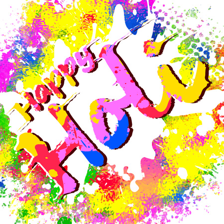 Happy Holi, a spring festival of colors, vector illustration Illustration