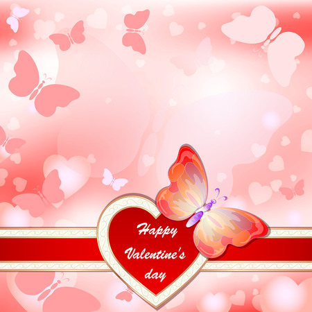 Valentines day greeting card with flying hearts, butterflies and place for text Stock Photo