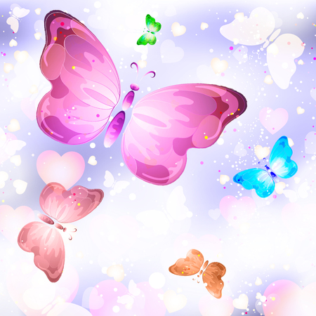love cloud: Valentines day festive background with flying butterflies and hearts Stock Photo