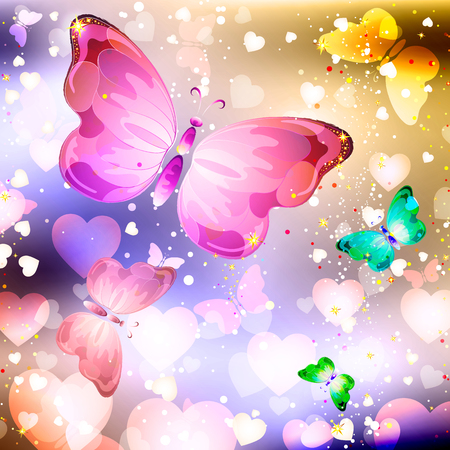 Valentines day festive background with flying butterflies and hearts Stock Photo