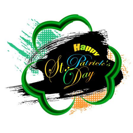 Happy St. Patricks day gold frame of trefoil in grunge style, vector illustration
