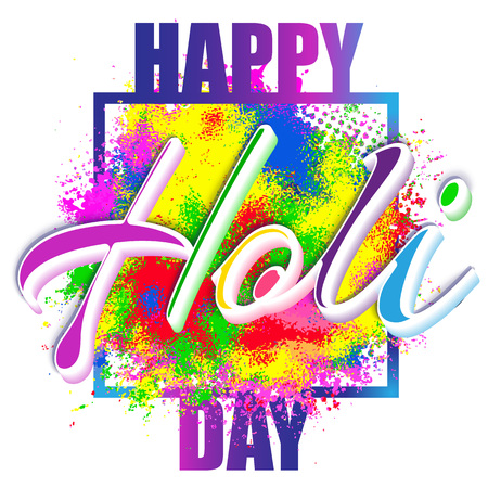 A Happy Holi, a spring festival of colors, vector illustration