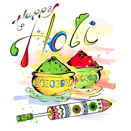 pichkari: Happy Holi, a spring festival of colors, vector illustration Illustration