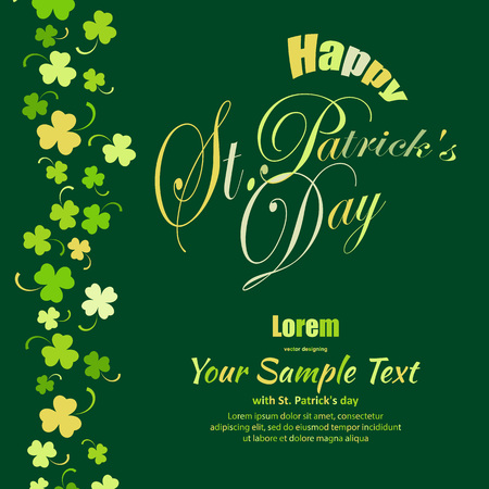 Saint Patricks Day, festive background with flying clover, vector illustration
