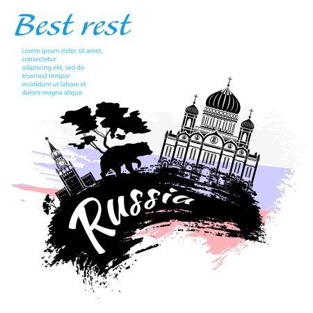 Travel to Russia grunge style design for your business easily editable elements, vector illustration