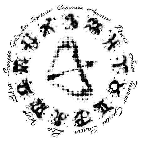 zodiac sign Sagittarius 13 characters, vector illustration