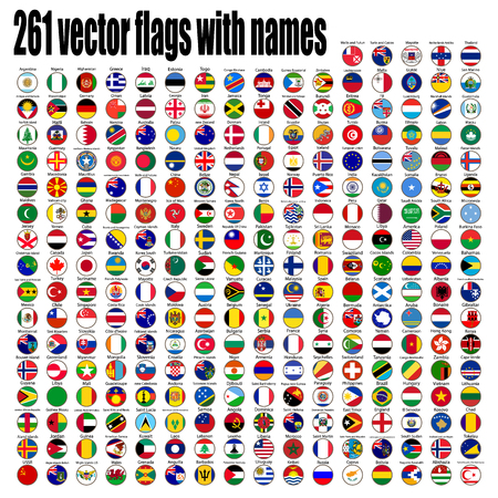 flags of the world, round icons, Lithuania, Luxembourg, Malta, Netherlands, Poland, Portugal, Romania, Slovakia, Slovenia, Finland, France, Republic, UK, vector illustration Vector Illustration
