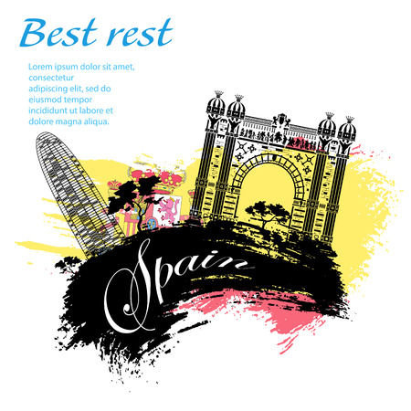 madrid: Spain travel grunge style design for your business easily editable elements, vector illustration