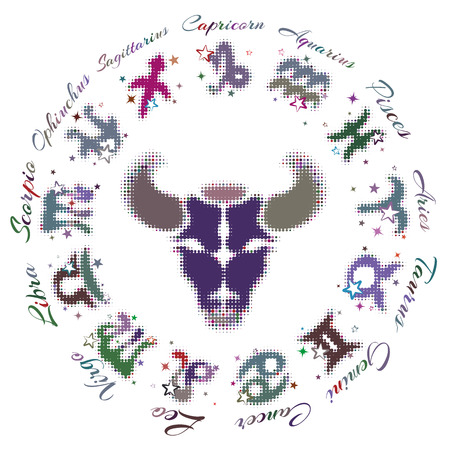 12 13 years: Simple  zodiac sign Taurus 13 characters, vector illustration