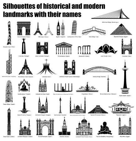 silhouettes of historical and modern attractions with the name, vector illustration
