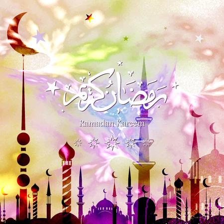 Ramadan Kareem with Arabic calligraphy, greeting card, vector illustration