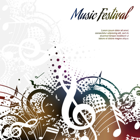 Music background abstract composition on white with place for text, vector illustration Ilustração