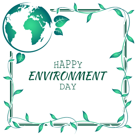 World environment day frame made of leaves