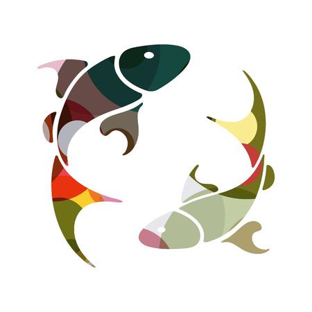 Pisces zodiac Sign, vector illustration 일러스트