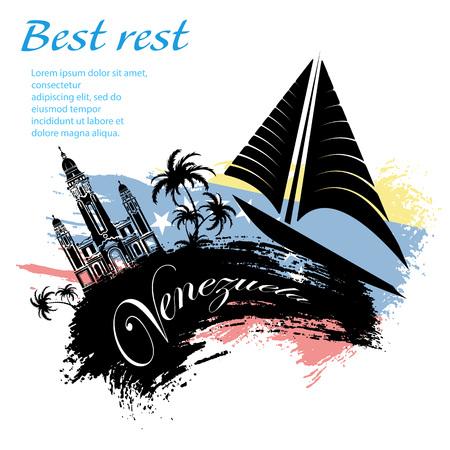 Venezuela travel grunge style design for your business easily editable elements, vector illustration Illustration