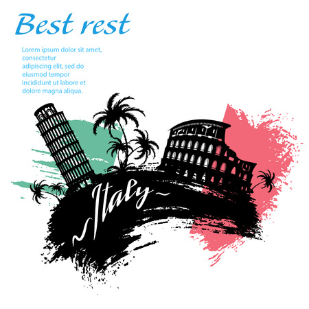 Italy travel grunge style design for your business easily editable elements, vector illustration Illustration