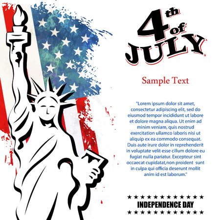 old new york: Greeting card for independence Day United States 4th of July, vector illustration