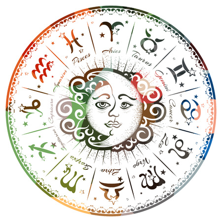 Zodiac signs, horoscope, vector illustration