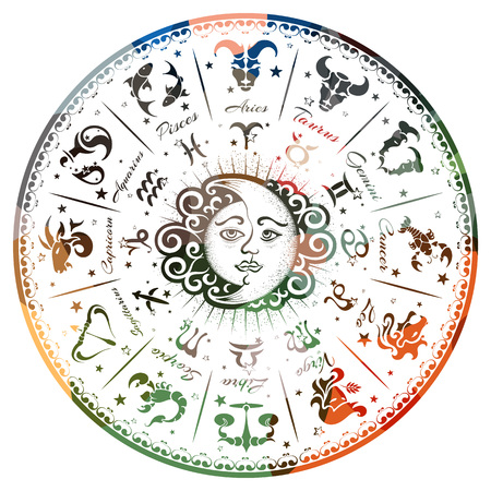 A zodiac signs, horoscope, vector illustration Çizim