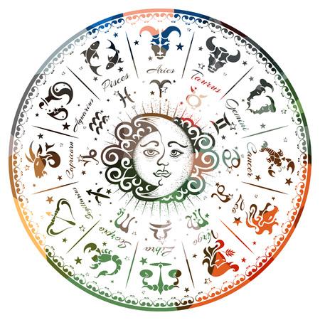 Zodiak podpisuje, horoskop, wektorowa ilustracja