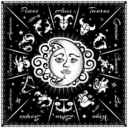 wheel of fortune: Zodiac signs, horoscope, vector illustration