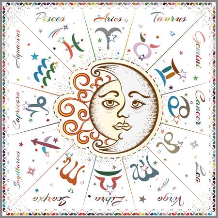 signes du zodiaque, horoscope, illustration vectorielle Vecteurs