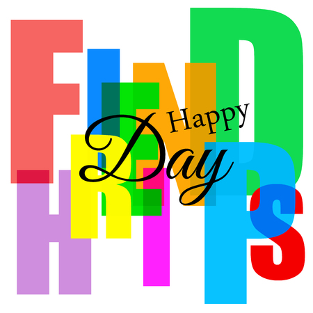 Happy friendship day, stylized holiday card with the inscription
