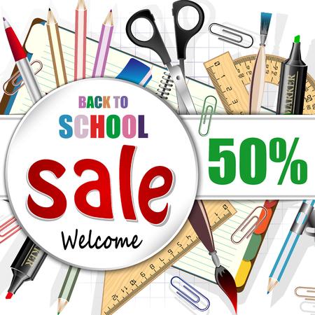 school class: Back to school, discount banner