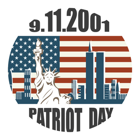 Patriot day we will never forget September 11, 2001, 911, greeting card, vector illustration