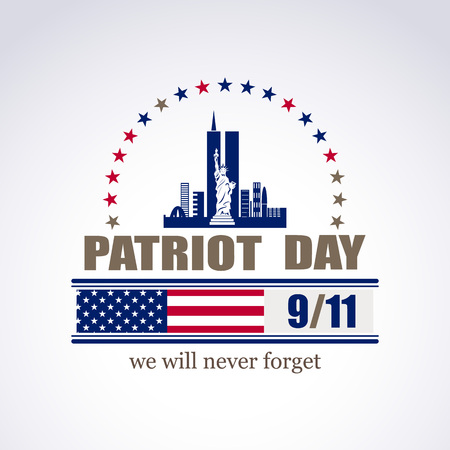 Patriot day we will never forget September 11, 2001, 9/11, greeting card, vector illustration
