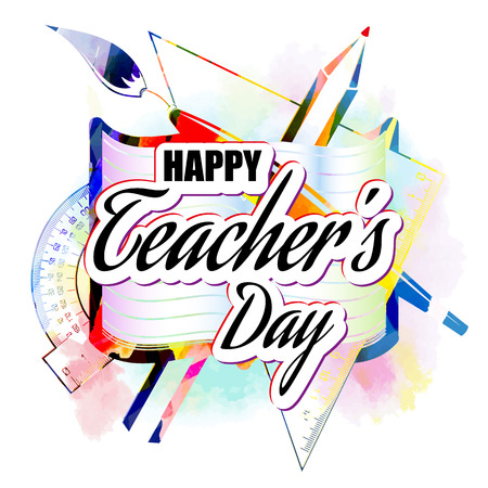 happy Teachers Day greeting card, abstract, poster, vector lettering with pencils and notebooks. vector illustration Illustration