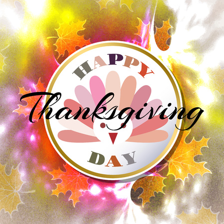Happy thanksgiving day abstract grunge background with flying leaves and stylish text. vector illustration Illustration