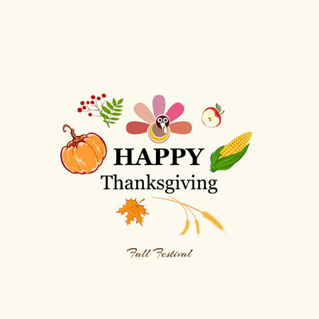 Happy thanksgiving abstract background. greeting card. poster. pumpkin,corn, bird turkey. vector illustration