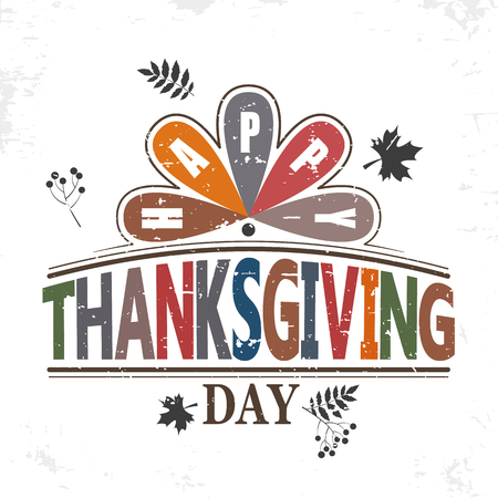 Happy thanksgiving day typographic flat design isolated stylized text