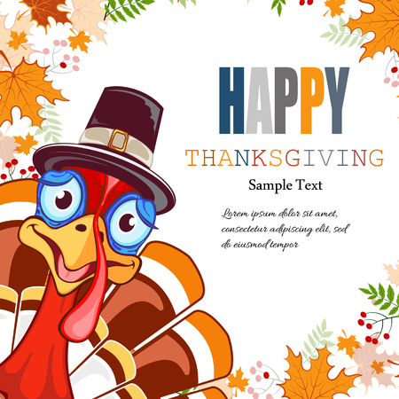 Happy thanksgiving abstract background frame with leaves and place for text