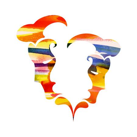 zodiac sign Gemini vector illustration.