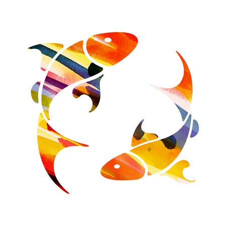 zodiac sign Pisces vector illustration.