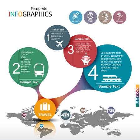 Infographic template. travel, vacation. vector illustration Illustration