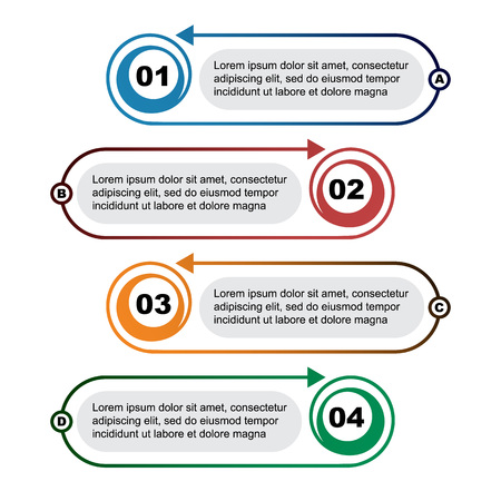 Infographic template with 4 elements vector illustration Illustration