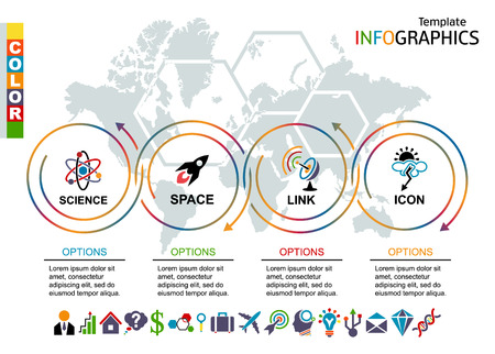 Info-graphic template. Set elements with world map in background. includes a set of icons. Vector illustration.