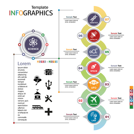 Info-graphic template. science, technology. Vector illustration.