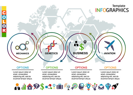 Infographic template. set elements with world map in background. includes a set of icons. vector illustration