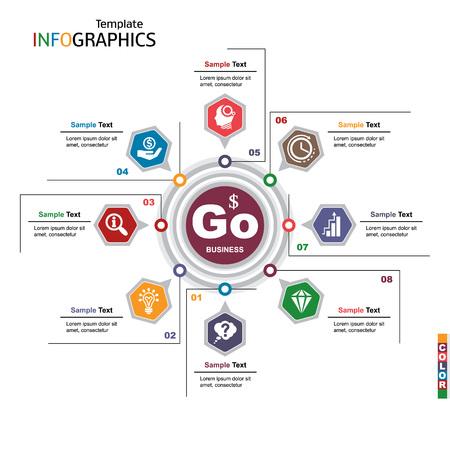 Infographics business template elements. vector illustration Illustration